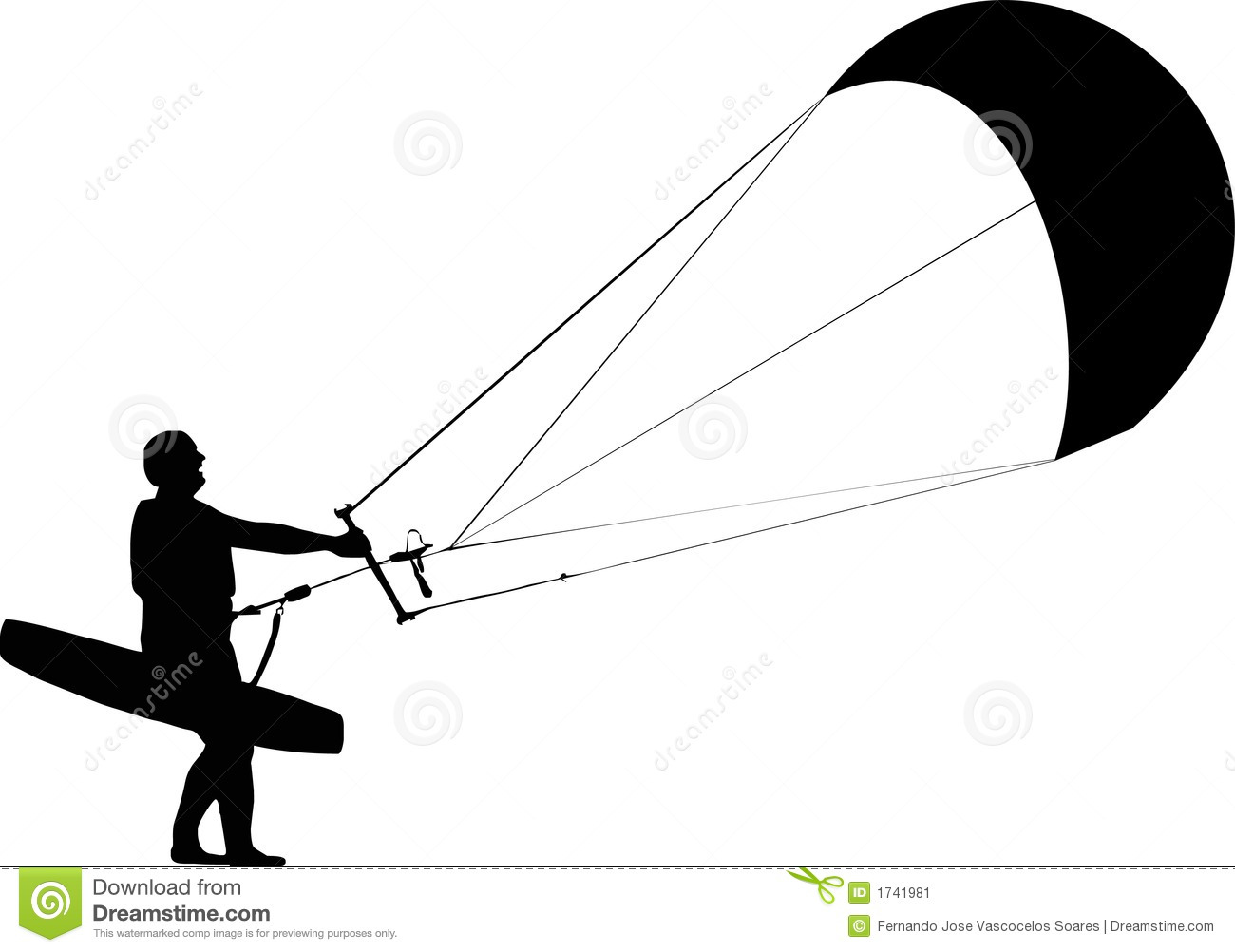 Kite Surfer Stock Illustrations.