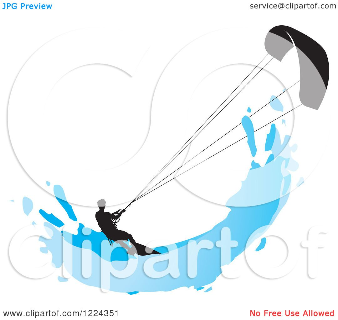 Clipart of a Silhouetted Kite Surfer with a Blue Splash.