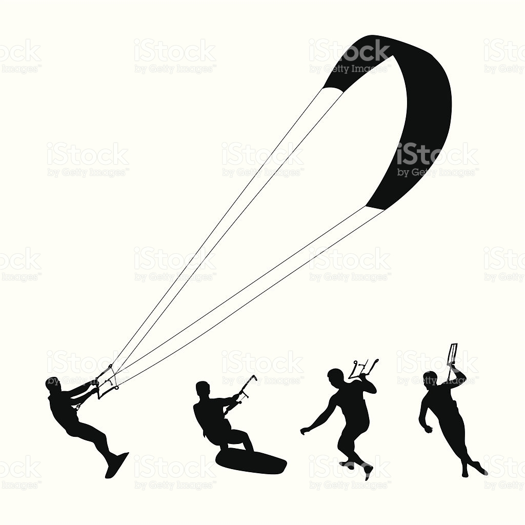 Kite Surfing Vector Silhouette stock vector art 165034723.