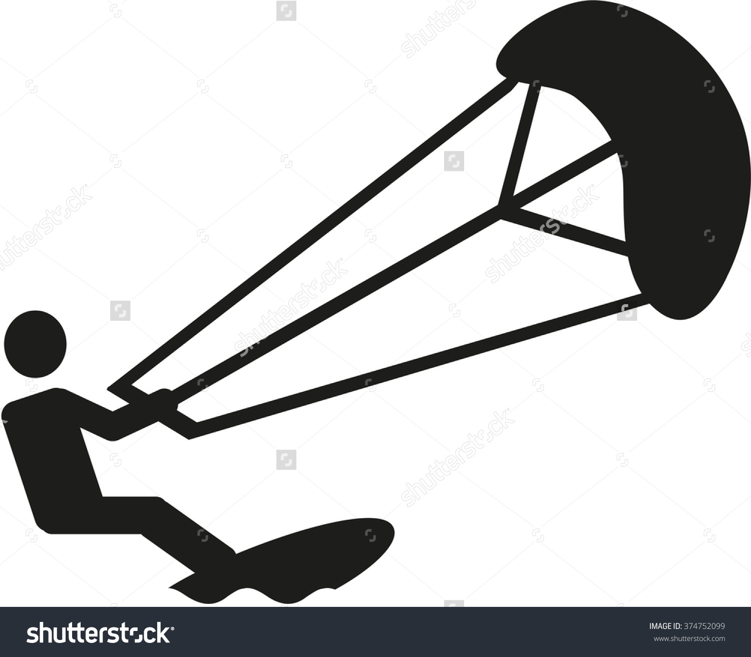Kite Surfer Clip Art.