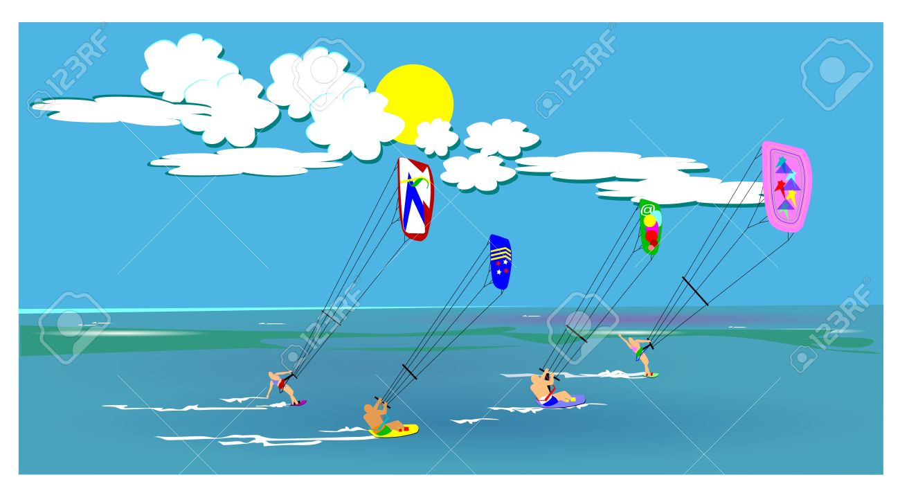 521 Kite Surfing Stock Illustrations, Cliparts And Royalty Free.
