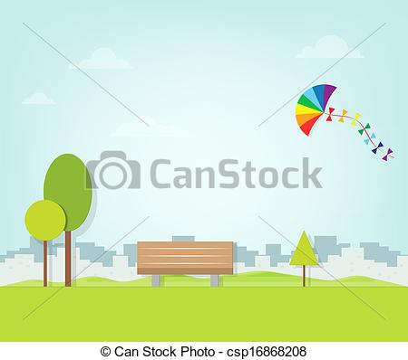 Vector Clipart of kite flying over the park csp16868208.