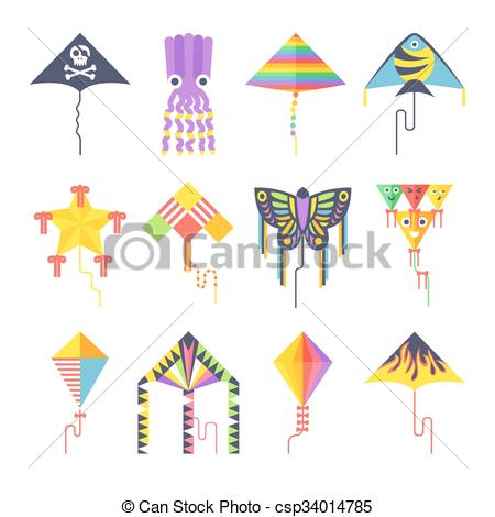 Vector of Flying kite vector collection Isolated on a white.