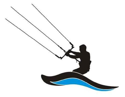 Leisure Wall Decals Kite Surfing Silhouette Kite Boarder in Action.