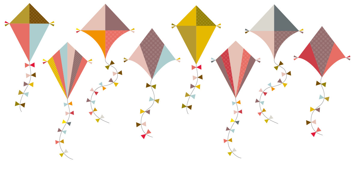 March Kites Clipart.