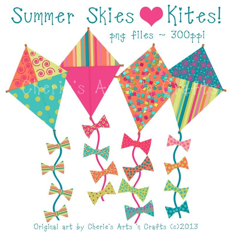 Kites Clip Art, Summer Kites, Kite Graphics, Kites, Summer Kites Graphics,  Set of Four PNG Files, Digital Art Download, Summer Time Clip Art.
