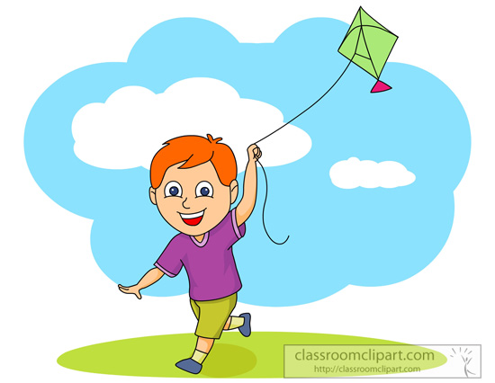 Child Flying A Kite Clipart.