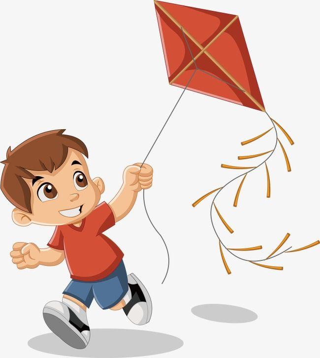 Kite Flying Vector, Cartoon Characters, Fly A Kite, Kite.