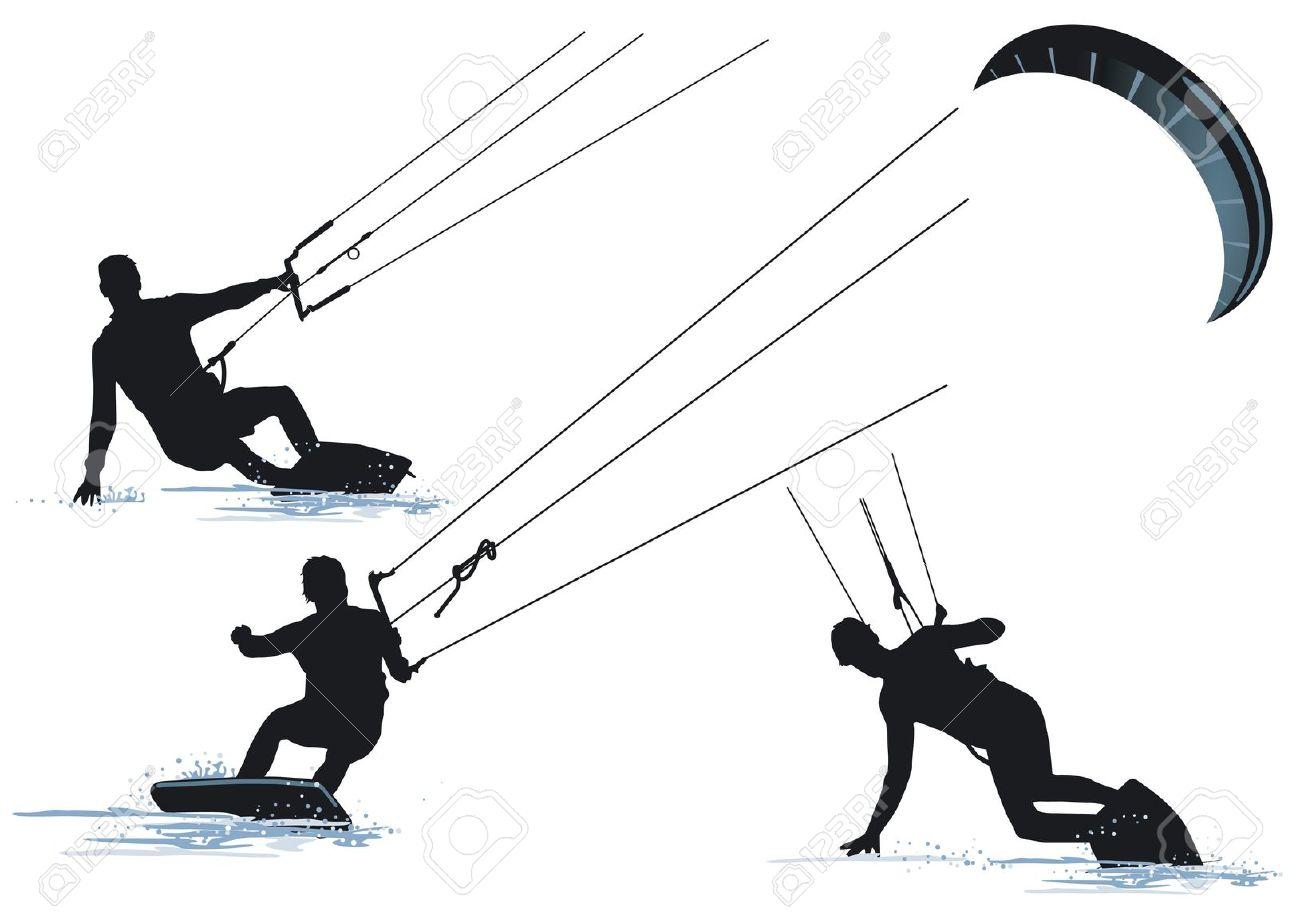 Kite Surfing Clipart.