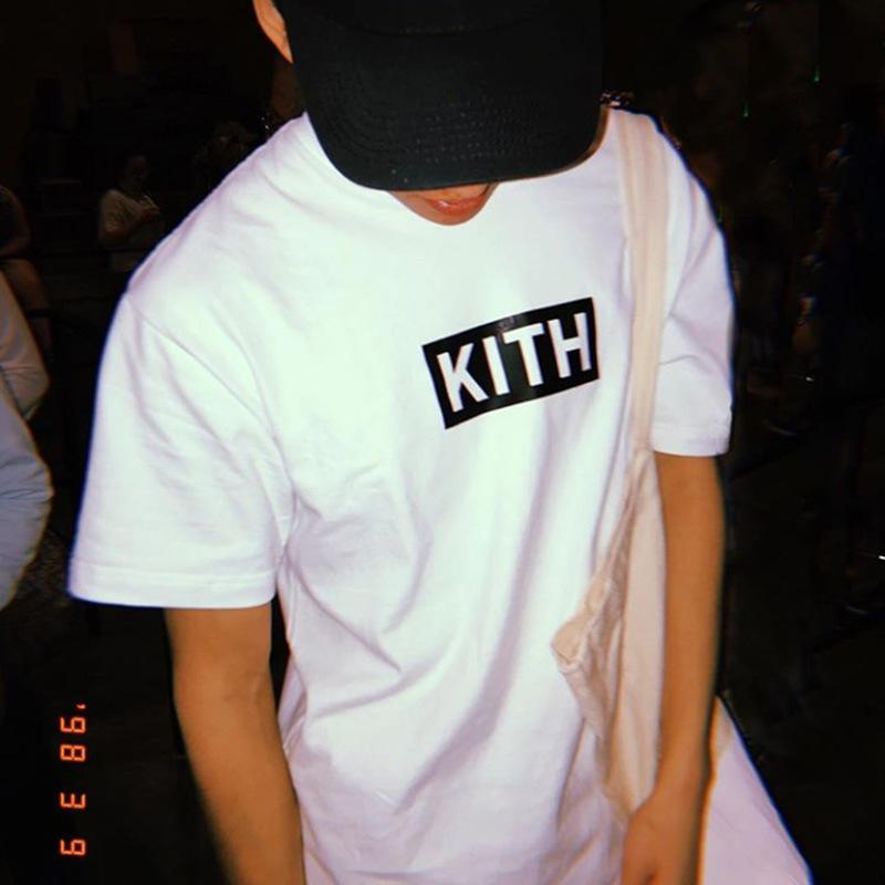 19SS KITH Classic Box Logo Tee Fashion Casual Loose Tee Crew Neck Letter  Printed Highstreet Hip Hop T Shirt Men Women Summer Tee HFYMTX002 Fun T.