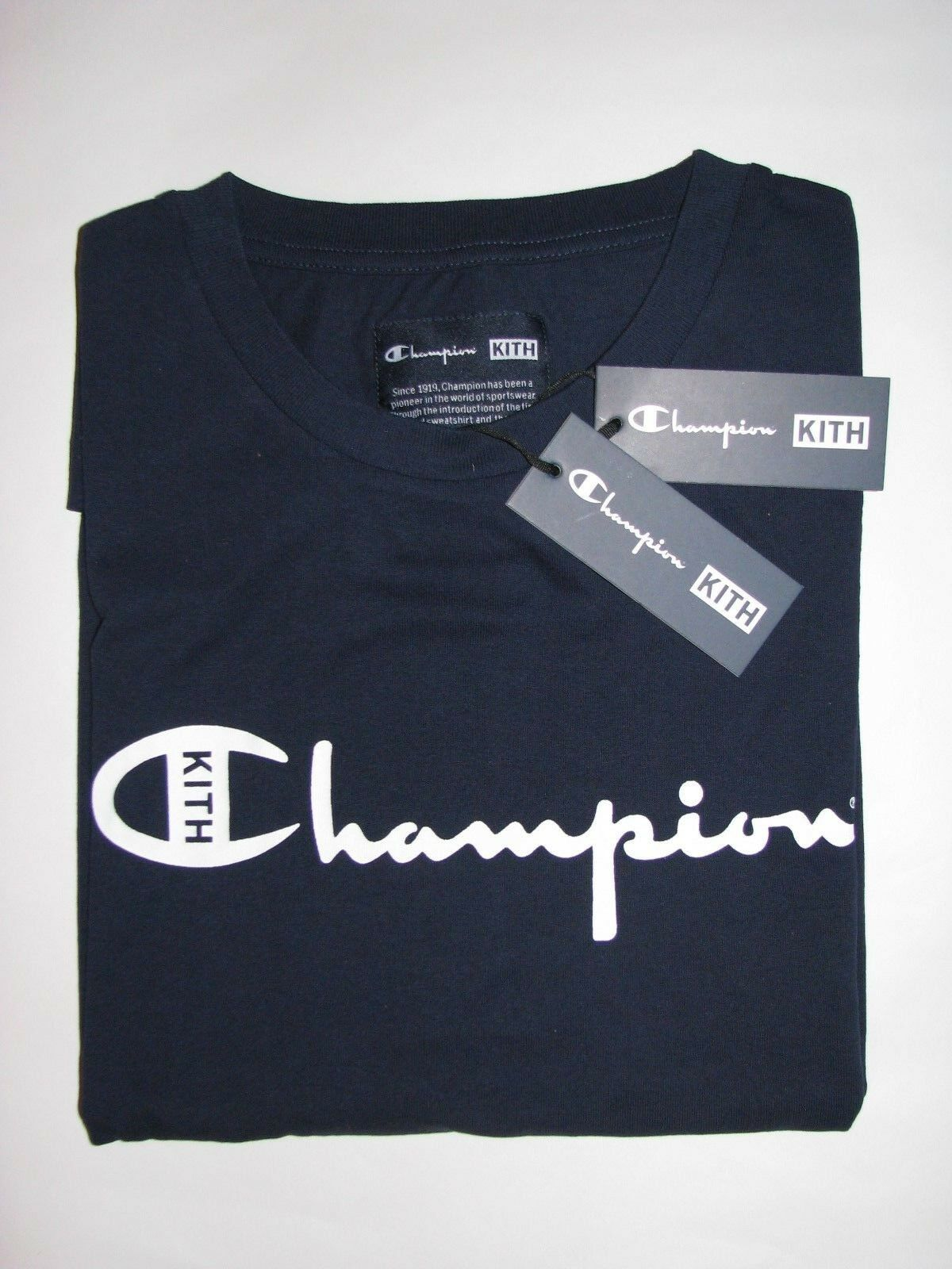 Kith x Champion Script Logo Tee Shirt Navy Blue Mens Large NEW! Ronnie Fieg.