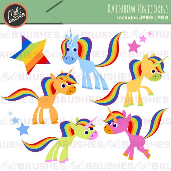 Graphic clipart illustrations of cute and kitsch rainbow unicorns.