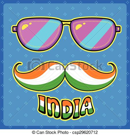 Vector Clip Art of Indian kitsch style mustache and glasses.