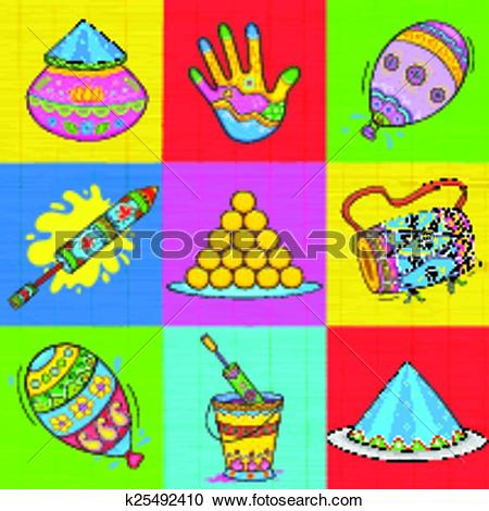 Clipart of Holi element in Indian kitsch style k25492410.