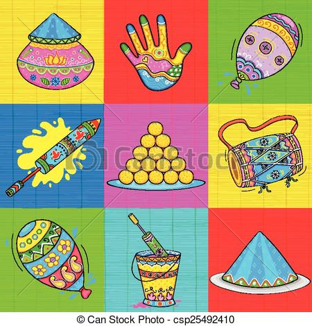 Vector Clip Art of Holi element in Indian kitsch style.