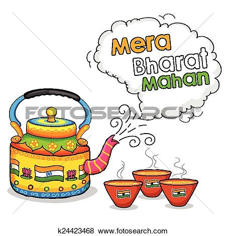 Clip Art of India kitsch art of kettle and clay glass k24423468.