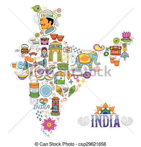Clipart Vector of Kitsch art of India map.