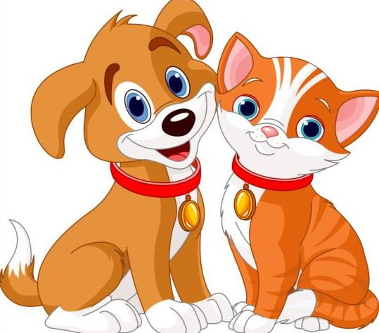 Cute Kitten And Puppy Clipart.