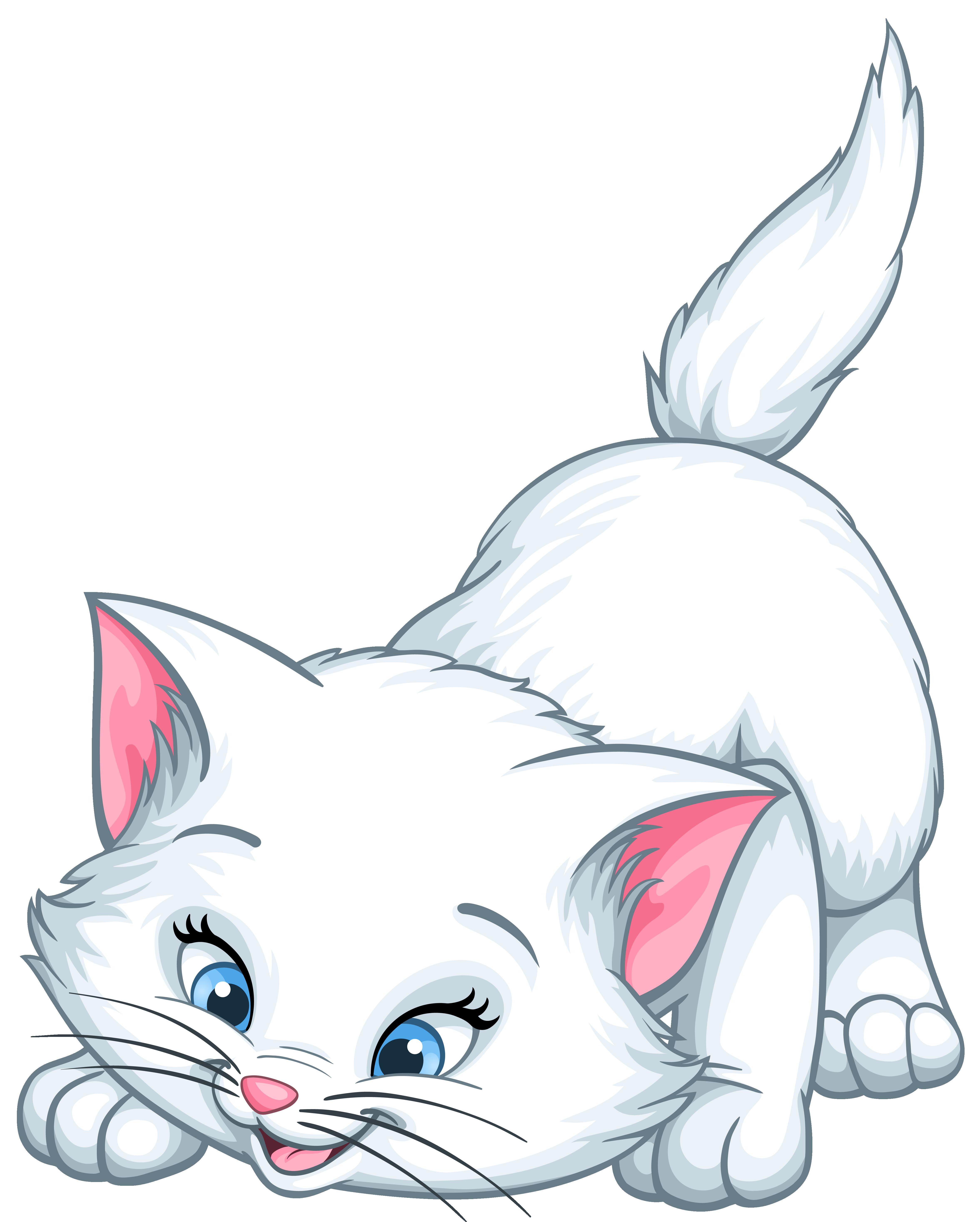White Kitten Cartoon PNG Clip Art Image.