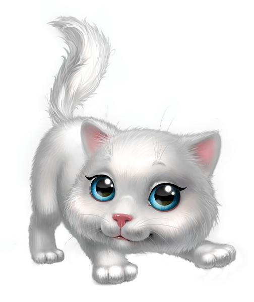 Cute White Kitten PNG Clipart Image.