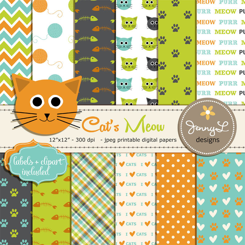 Cat Digital papers Pet Digital Paper Cat head Clipart.