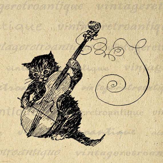 Printable Cat Graphic Kitten Playing Violin Digital Image Music.