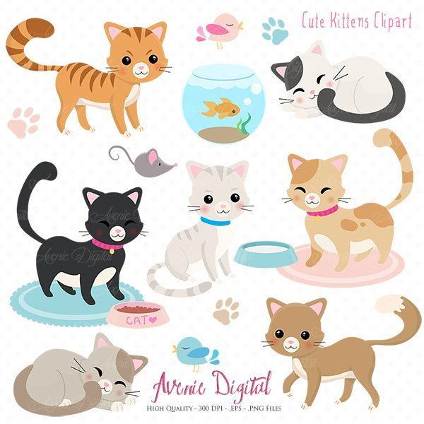Cute Cat Clipart. Scrapbooking printables, Vector .eps and png.