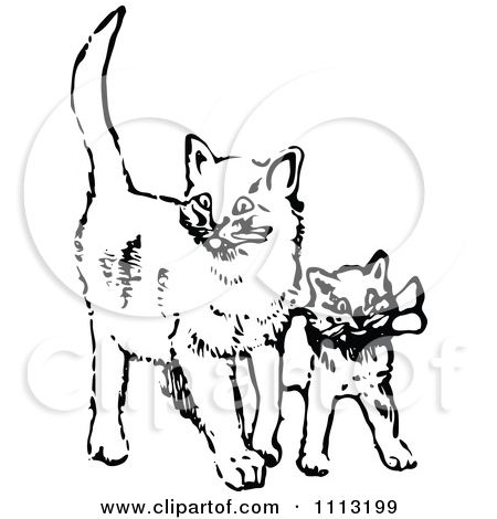 Clipart Vintage Black And White Kittens In A Basket.