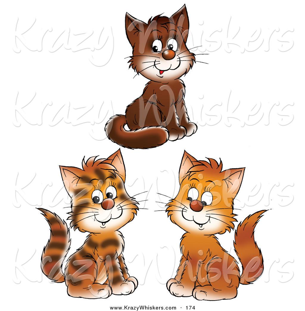 Three Cats Clipart.