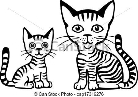 Vectors Illustration of Tabby Cat and Kitten.