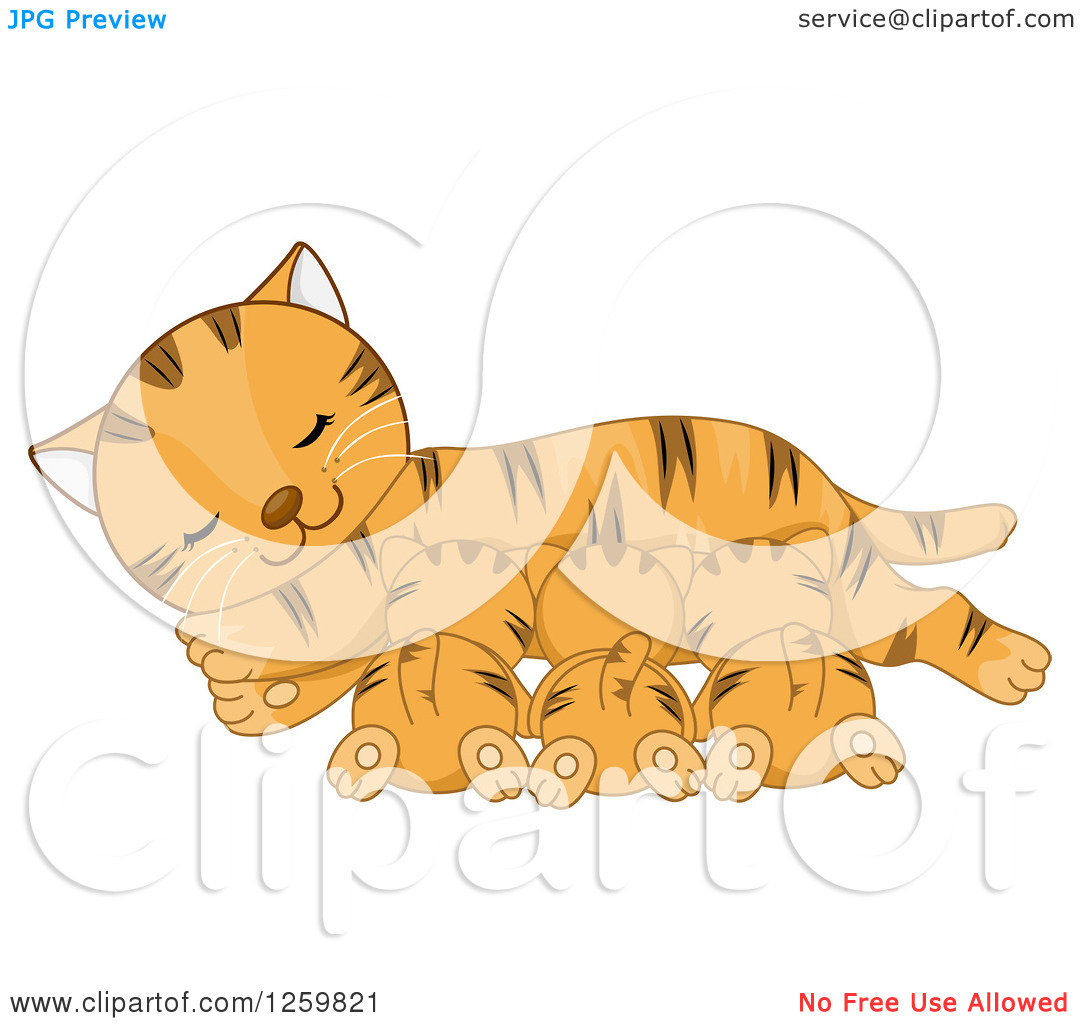 Clipart of a Happy Ginger Tabby Mother Cat Nursing Her Kittens.