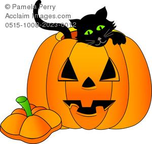 Clip Art Image of a Black Kitten Inside a Halloween Pumpkin.