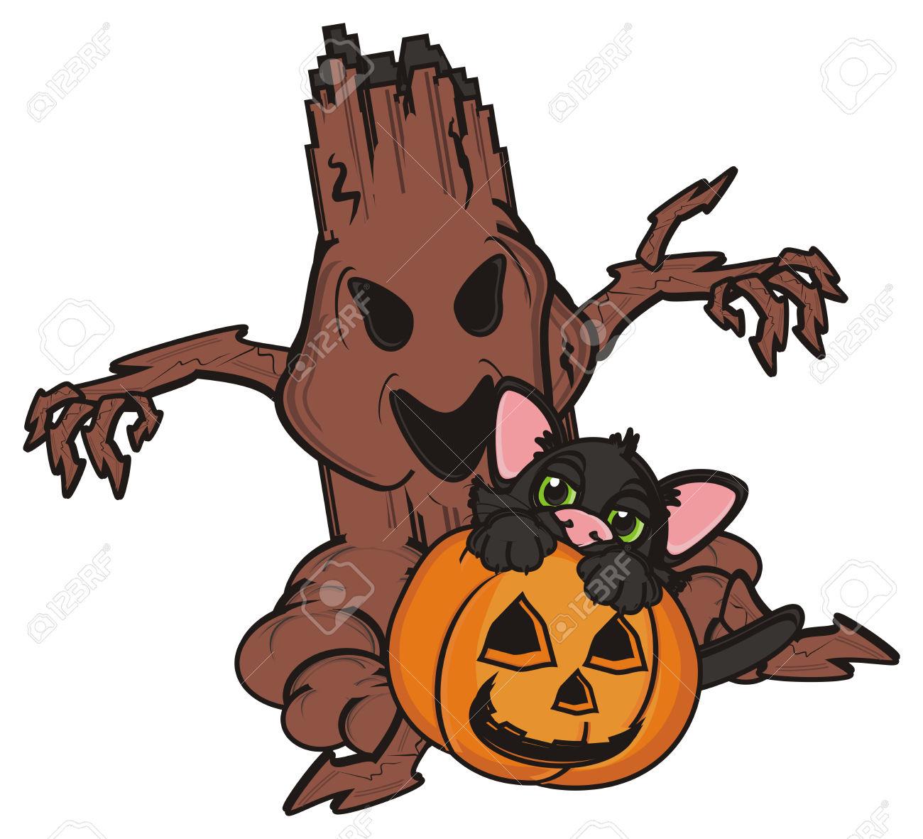 Black Kitten Sit Inside In Pumpkin Next To The Evil Tree Stock.
