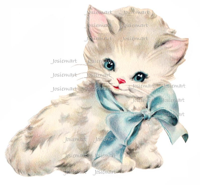 Digital Download Kitten with Blue Bow Vintage Image Collage Large JPG PNG.