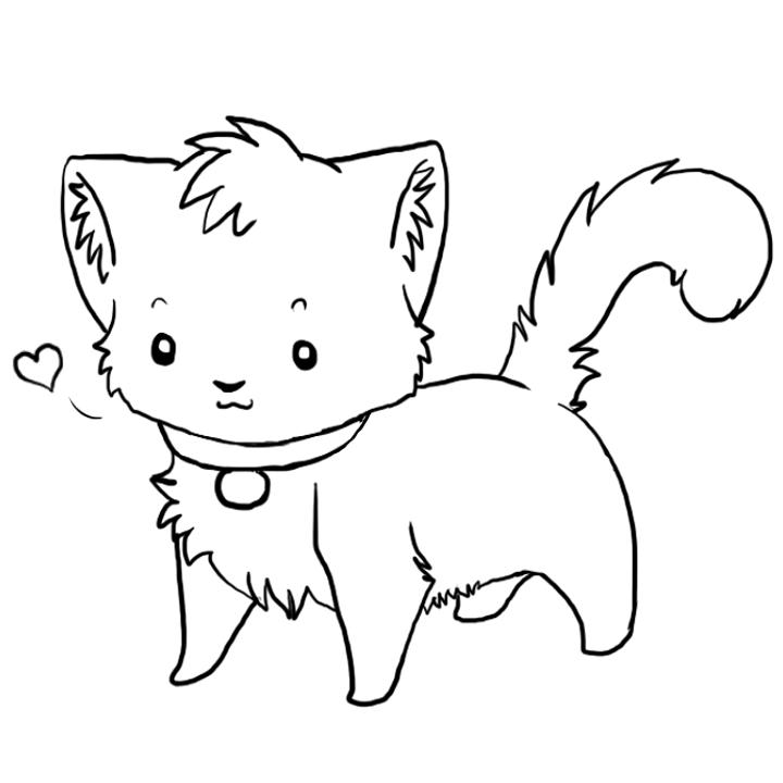Kitten Outline Clipart.
