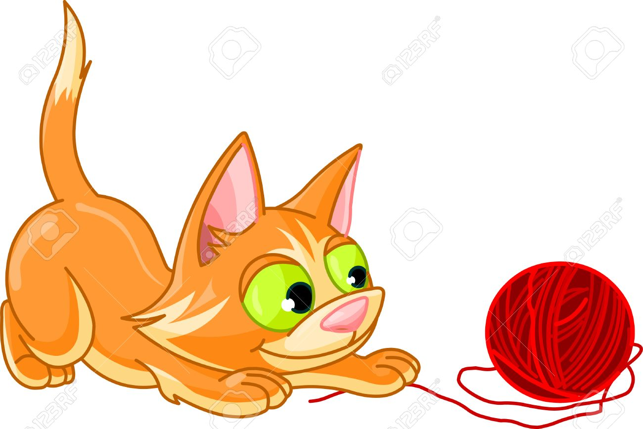 A Small Kitten Playing With Ball Of Red Yarn On A White Background.