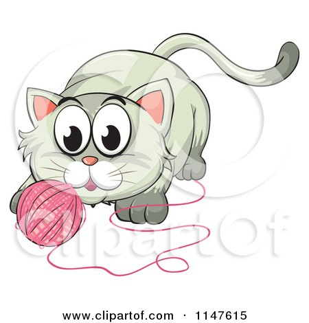 Cartoon of a Cute Kitten Playing with a Ball of Yarn.
