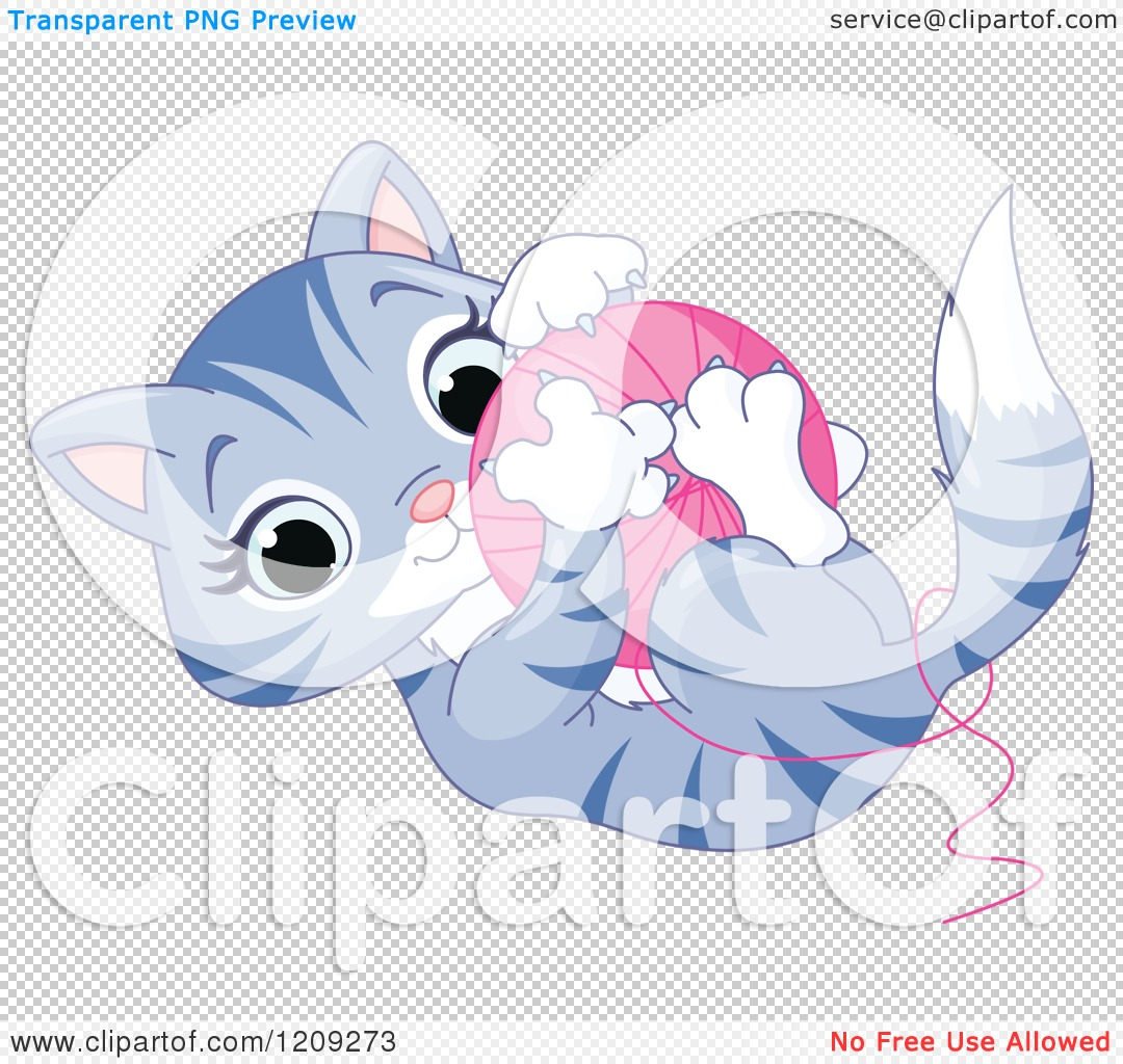 Cartoon of a Cute Tabby Kitten Playing with a Ball of Yarn.