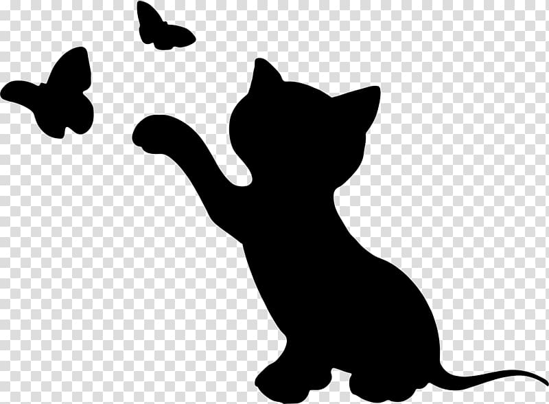Kitten Cat Silhouette , animal silhouettes transparent.