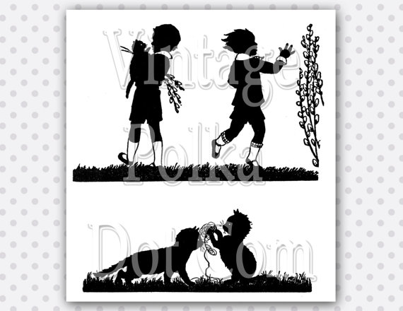 Clip Art Vintage Silhouette Kittens Playing by VintagePolkaDotcom.
