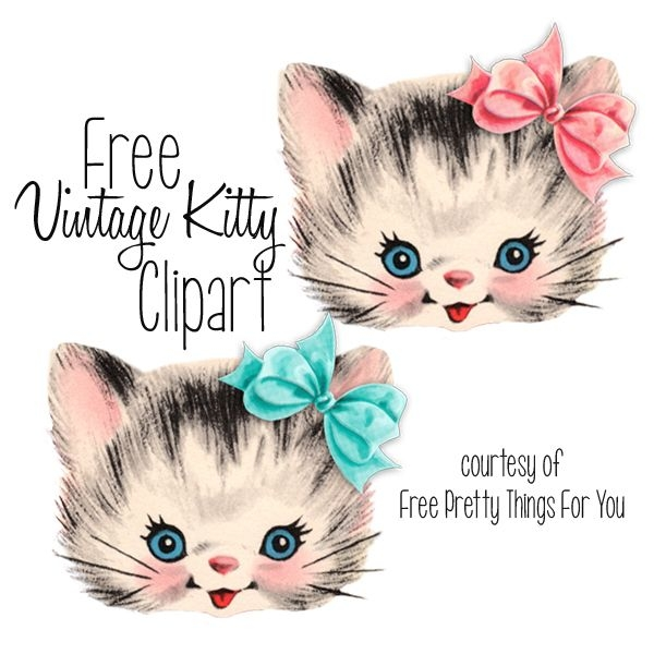 Vintage Kitten Clipart.