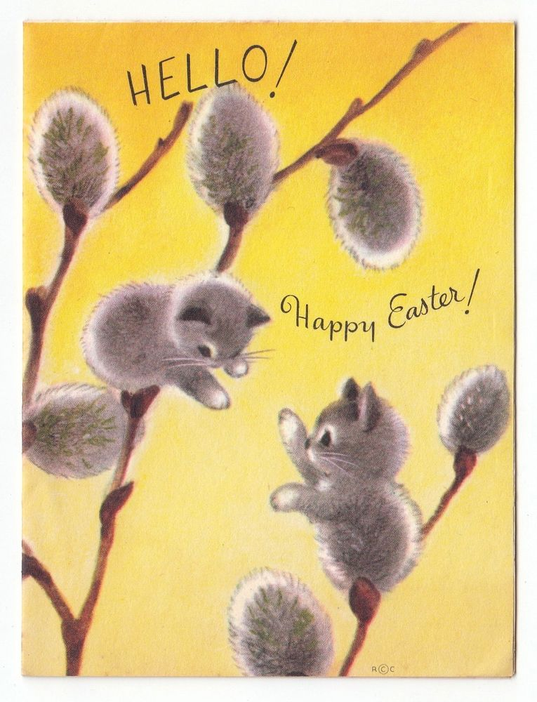 vintage Marjorie M. Cooper Easter card cats & pussy willow.