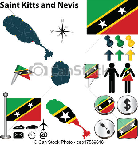Vector Clip Art of Map of Saint Kitts and Nevis.