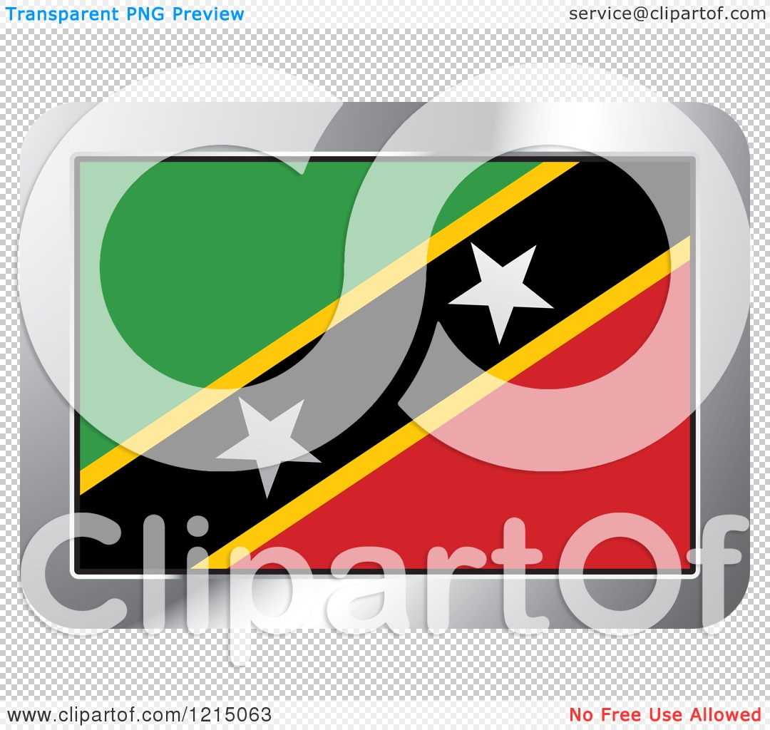Clipart of a Saint Kitts and Nevis Flag and Silver Frame Icon.
