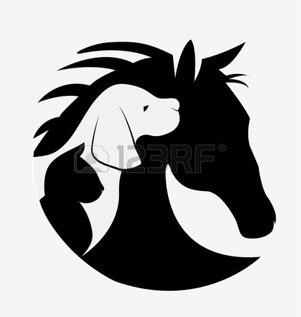 Dog cat and horse logo design vector image Stock Vector.