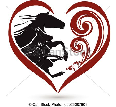 Vector of Horse cat and dog stylized logo.