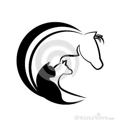 Veterinarian Heart Horse Dog Cat Bird Love Logo Stock Vector.