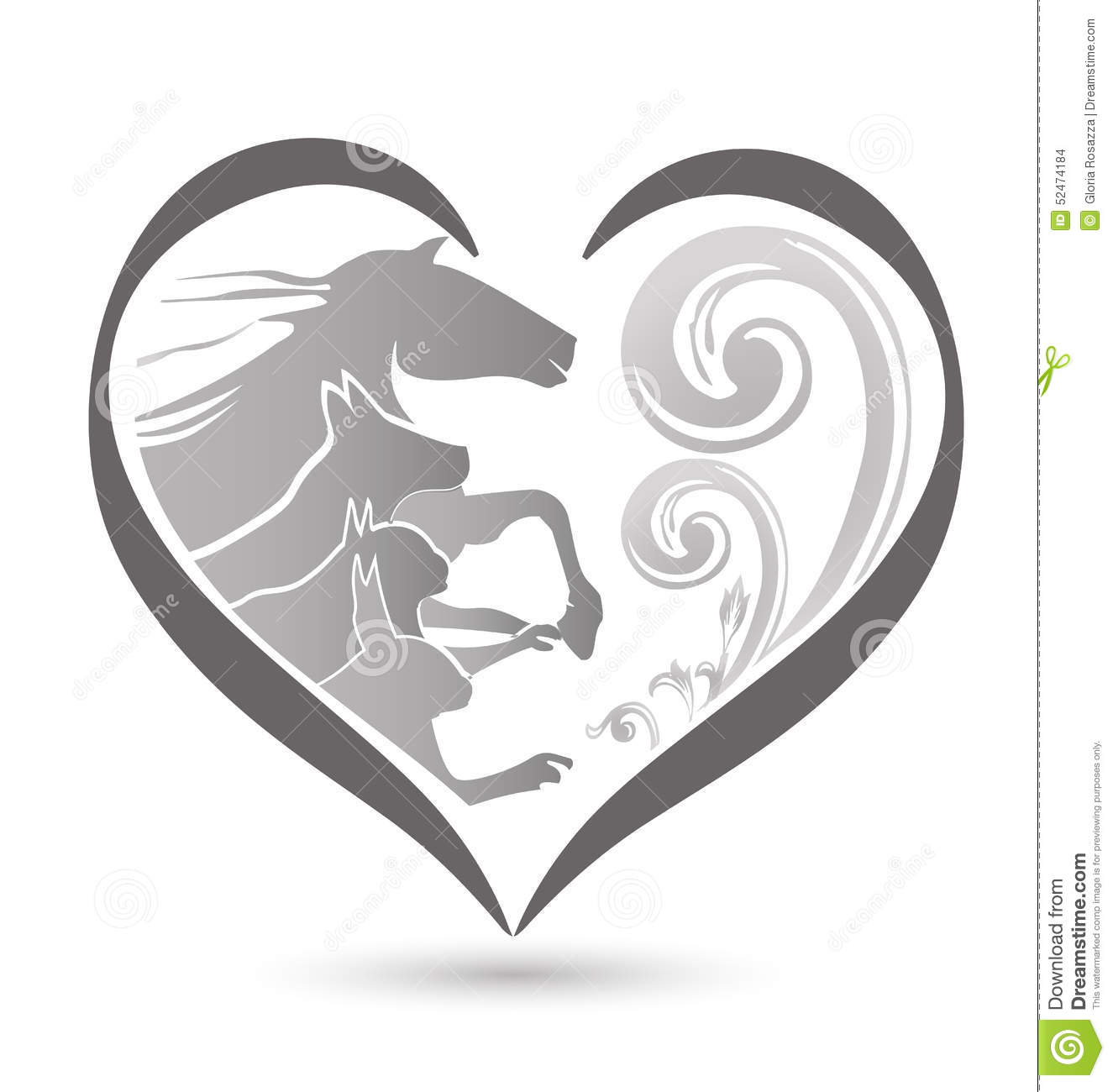 Cat Dog Horse And Rabbit Logo Stock Vector.