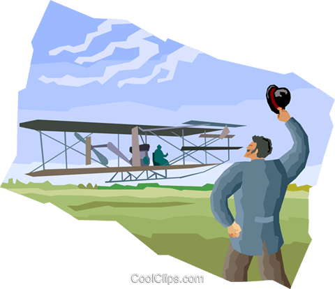 the Wright Brothers at Kitty Hawk Royalty Free Vector Clip Art.