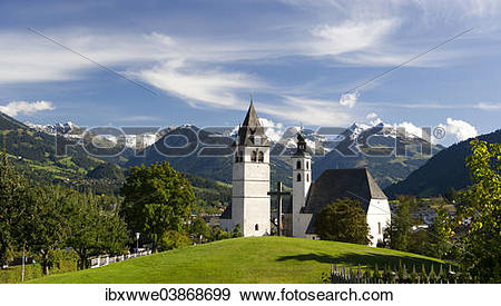 "Stock Photograph of ""Townscape in front of Kitzbuhel Alps, Parish."